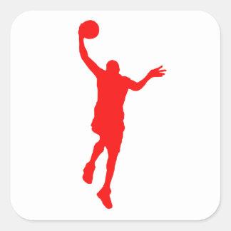 Layup rojo del baloncesto pegatina cuadradas personalizada