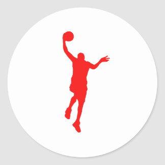 Layup rojo del baloncesto etiquetas redondas