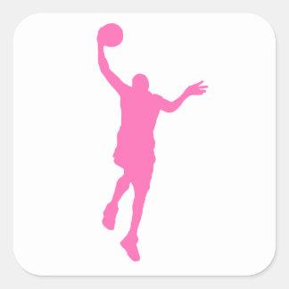 Layup rosado del baloncesto calcomanías cuadradass personalizadas