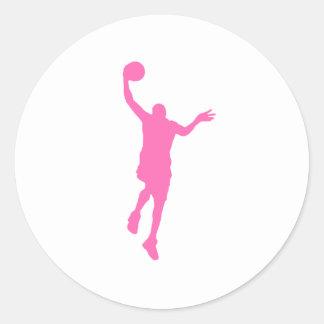 Layup rosado del baloncesto etiqueta redonda