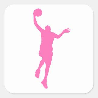 Layup rosado del baloncesto calcomanía cuadradas personalizadas