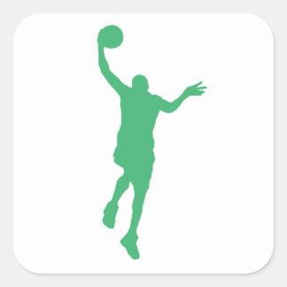 Layup verde del baloncesto calcomania cuadradas personalizadas