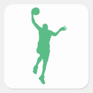 Layup verde del baloncesto calcomania cuadradas