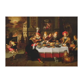 Lazarus and the Rich Man's Table Canvas Print