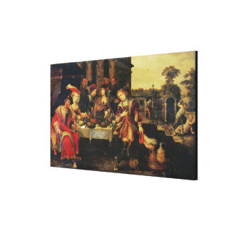 Lazarus at the Rich Man's Table, 1618 (oil on canv Canvas Print