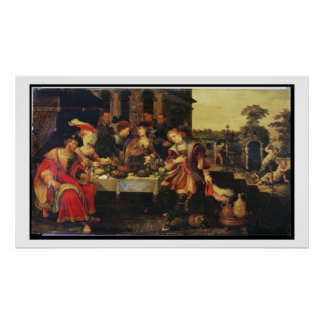 Lazarus at the Rich Man's Table, 1618 (oil on canv Poster