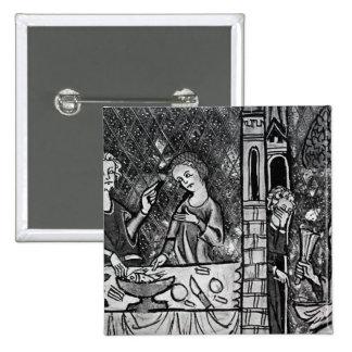 Lazarus en la puerta del hombre rico pin cuadrada 5 cm