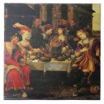 Lazarus en la tabla del hombre rico, 1618 (aceite  azulejo cuadrado grande