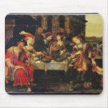 Lazarus en la tabla del hombre rico, 1618 (aceite  tapetes de ratones