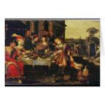 Lazarus en la tabla del hombre rico, 1618 (aceite  tarjeta de felicitación