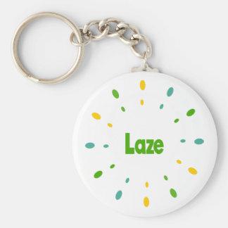 Laze green, yellow, blue keychain