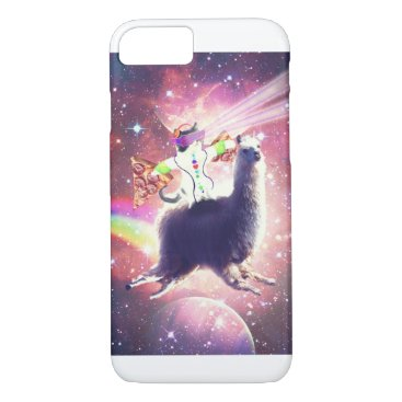 Lazer Rave Space Cat Riding Llama With Pizza iPhone 8/7 Case