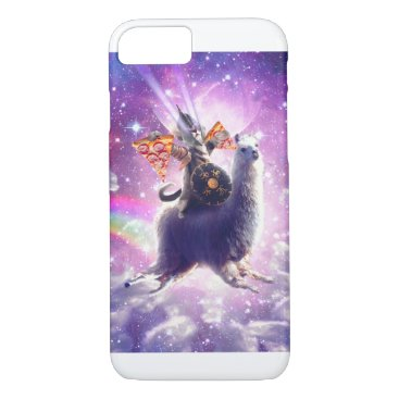 Lazer Warrior Space Cat Riding Llama Eating Pizza iPhone 8/7 Case