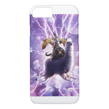 Lazer Warrior Space Cat Riding Llama With Taco iPhone 8/7 Case