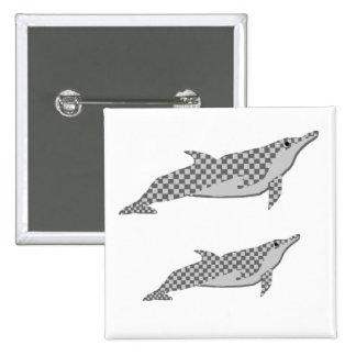 Lazo a cuadros del delfín del hilandero pin cuadrada 5 cm