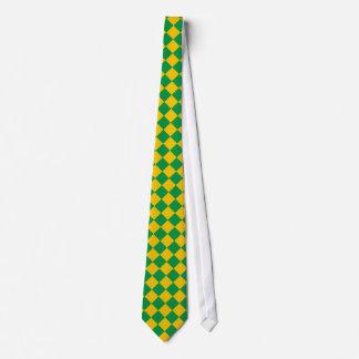 Lazo a cuadros verde y amarillo corbatas personalizadas