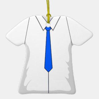 Lazo azul de la camisa de vestir blanca ornamente de reyes