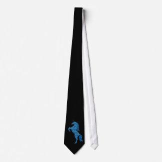 Lazo azul del unicornio del fuego corbatas personalizadas