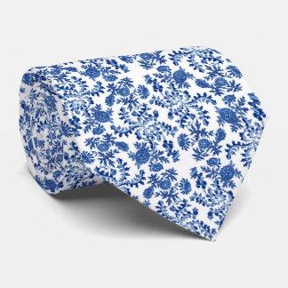 Lazo azul y blanco de la impresión floral corbata