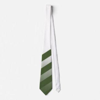 Lazo blanco con las rayas del verde verde oliva en corbata personalizada