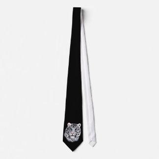 Lazo blanco de la cara del tigre corbata personalizada