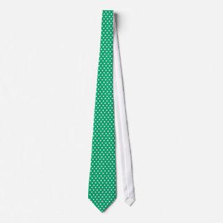 Lazo blanco del verde de jade de Polkadots barato Corbata Personalizada