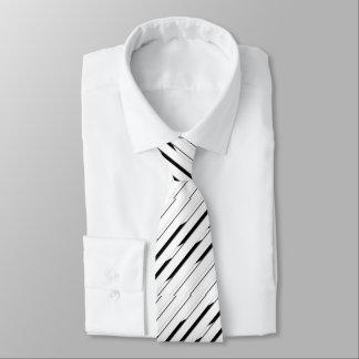 Lazo blanco y negro rayado elegante corbata personalizada
