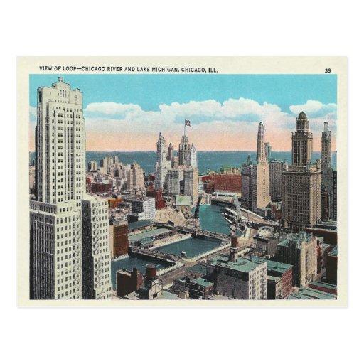 Lazo de Chicago del vintage Tarjeta Postal