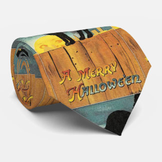 Lazo de Halloween del vintage del gato negro Corbatas Personalizadas