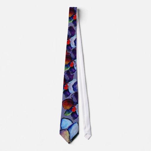 Lazo de la orquídea azul del arte corbatas