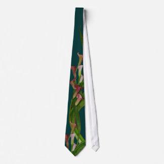 Lazo de las calas y de las hojas corbatas personalizadas