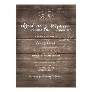 Lazo de madera rústico la invitación del boda del
