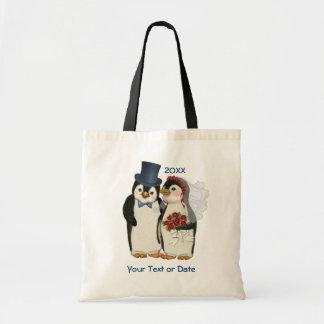 Lazo de novia y del novio del boda del pingüino - bolsa
