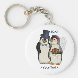 Lazo de novia y del novio del boda del pingüino -  llavero redondo tipo pin