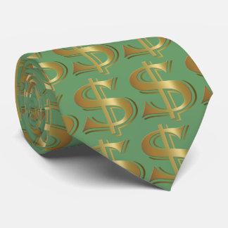 Lazo de oro verde de la muestra de dólar corbatas