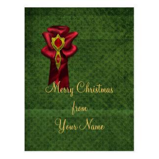 Lazo de satén rojo elegante postales