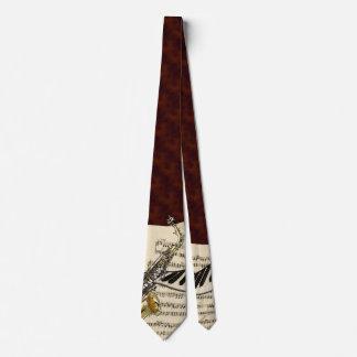 Lazo del saxofón y de la música del piano corbatas personalizadas