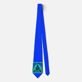 Lazo del verde azul de la hoja floral del vintage corbata