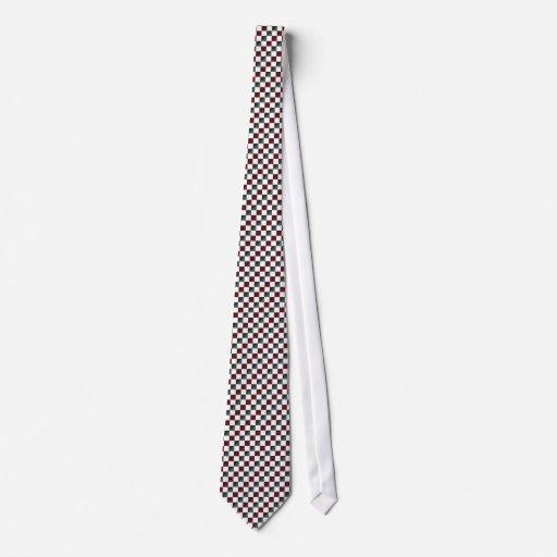 Lazo diagonal del tablero de damas rojo y gris osc corbata personalizada