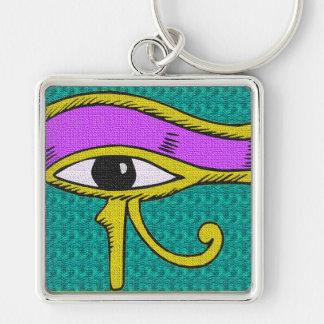 lazo diseñado influencia egipcia llavero cuadrado plateado
