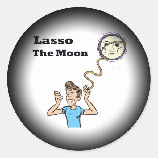 Lazo la luna etiqueta redonda
