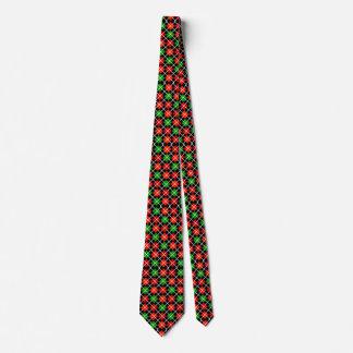 Lazo modelado Argyle verde y negro rojo Corbata