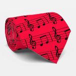 Lazo musical de las notas, rojo y negro corbatas