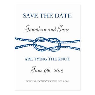 Lazo náutico la reserva del boda del nudo la fecha postales