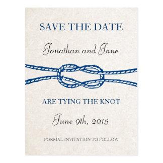 Lazo náutico la reserva del boda del nudo la fecha tarjetas postales