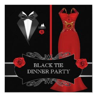 """Lazo negro blanco formal 2B rojo del fiesta de Invitación 5.25"""" X 5.25"""""""