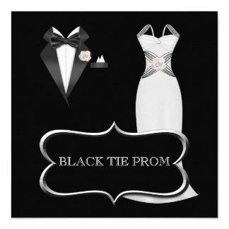"""Lazo negro blanco formal de la danza de la High Invitación 5.25"""" X 5.25"""""""
