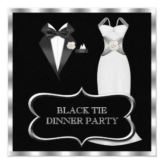 """Lazo negro blanco formal del fiesta de cena invitación 5.25"""" x 5.25"""""""