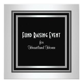 Lazo negro corporativo negro de plata Fundraising Invitación Personalizada