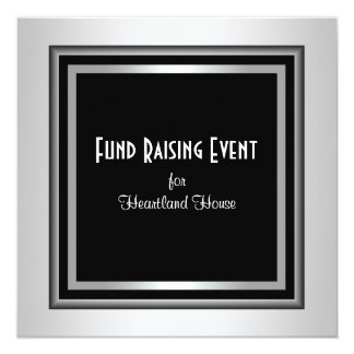 "Lazo negro corporativo negro de plata Fundraising Invitación 5.25"" X 5.25"""